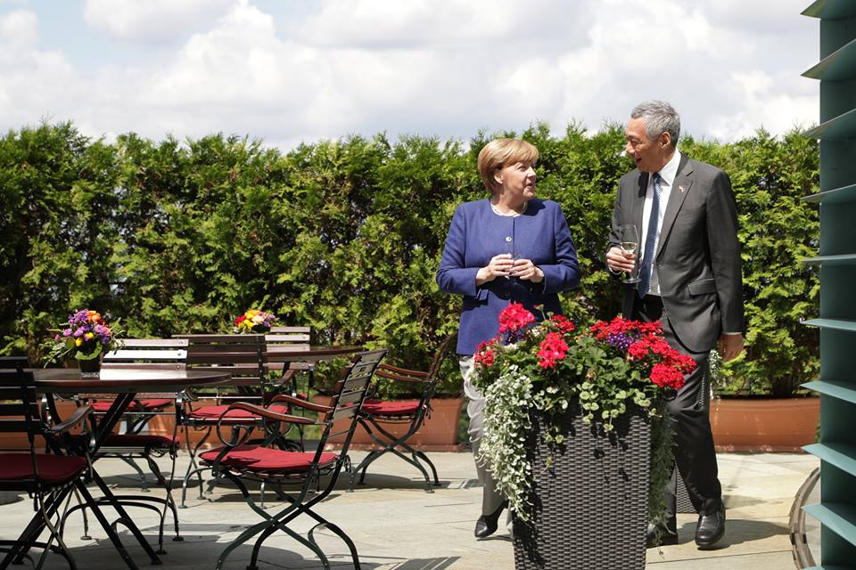 PM Lee with German Chancellor Angela Merkel. Photo courtesy: MCI Kenji Soon
