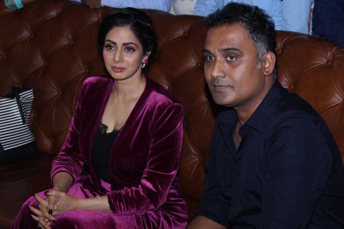Ravi Udyawar with Sridevi during a press conference.