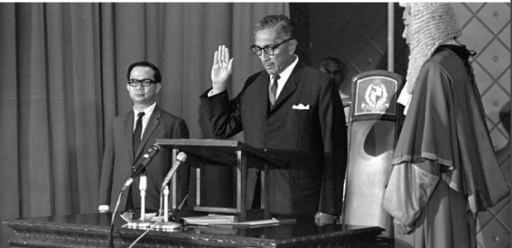 Yusof Ishak taking his oath as he is being sworn-in as President of the Republic of Singapore in 1967 at the Istana.