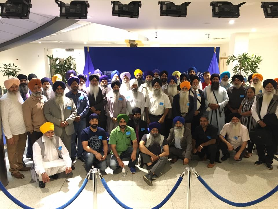 Sikhs gathered at the EU Parliament