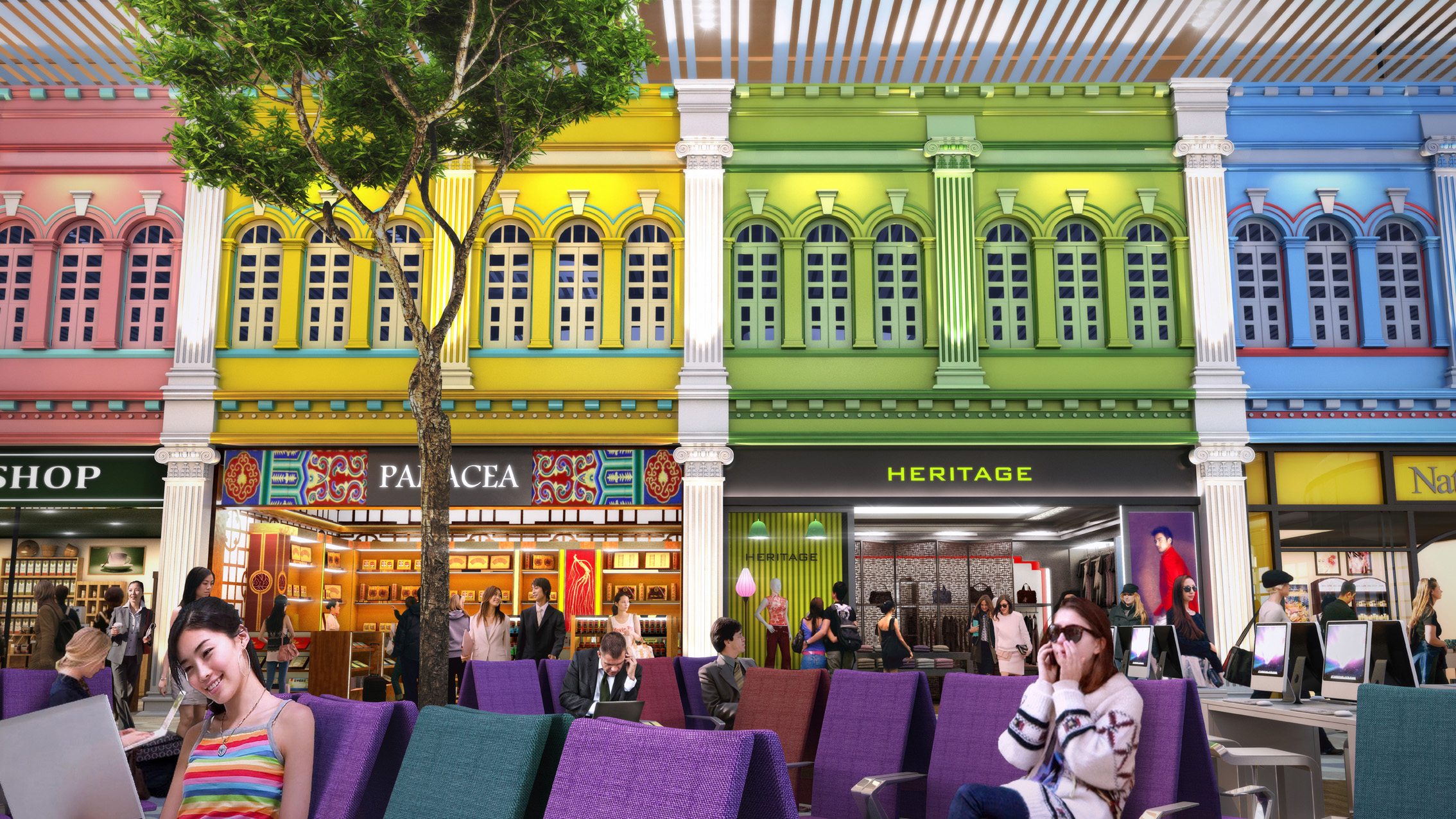 Singapore's heritage is showcased in retail stores featuring facades of old Peranakan houses. Photo courtesy: Changi Airport Group