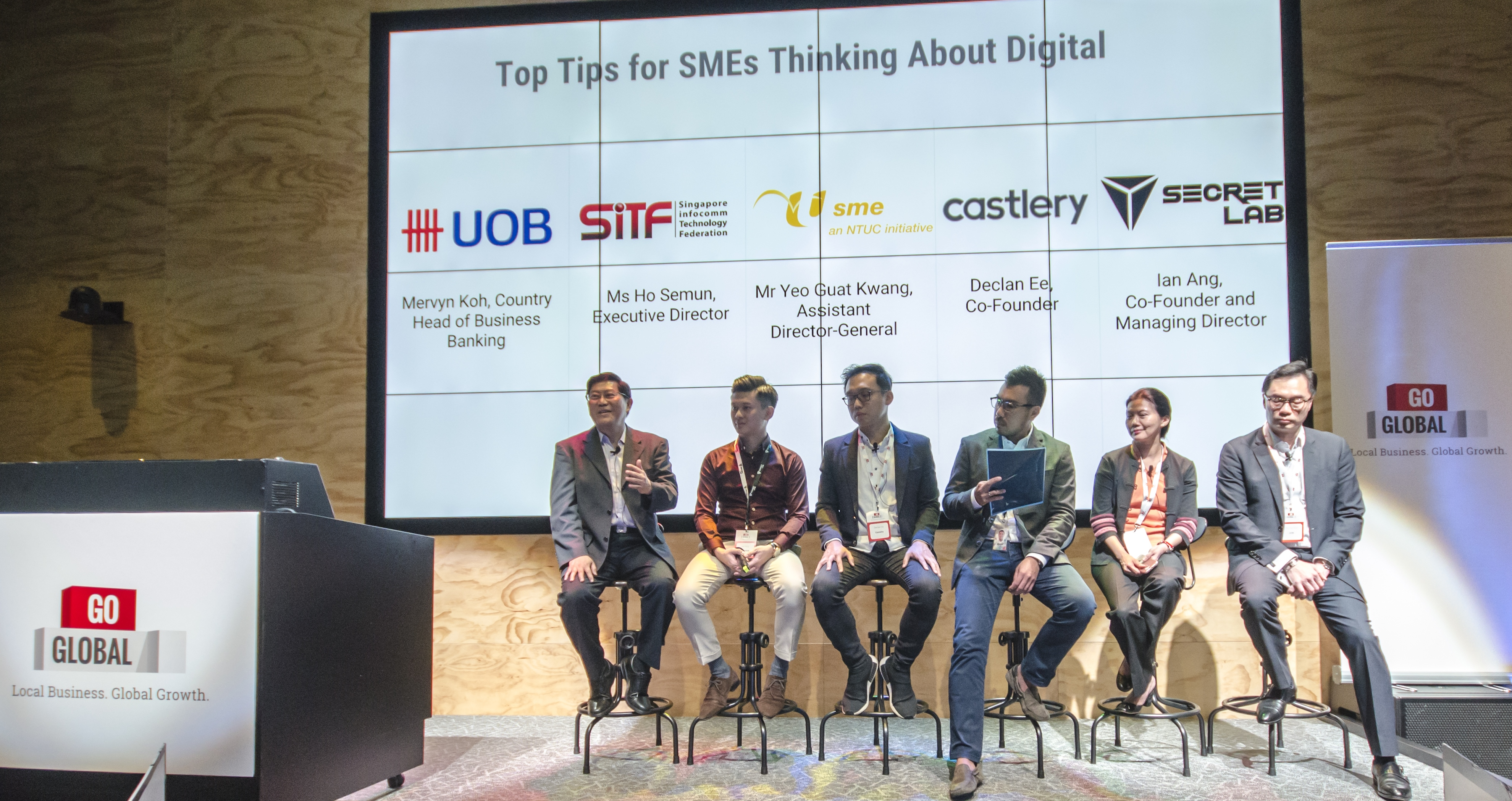 (L - R) Yeo Guat Kwang, Assistant Director-General, NTUC; Ian Ang, Managing Director and Co-founder, Secretlab; Declan Ee, Co-founder, Castlery; Jerald Lee, Regional Sales Manager, Google Marketing Solutions; Ho Semun, Executive Director, SiFT; Mr Mervyn Koh, Managing Director and Country Head of Business Banking, Singapore UOB Photo courtesy: Google