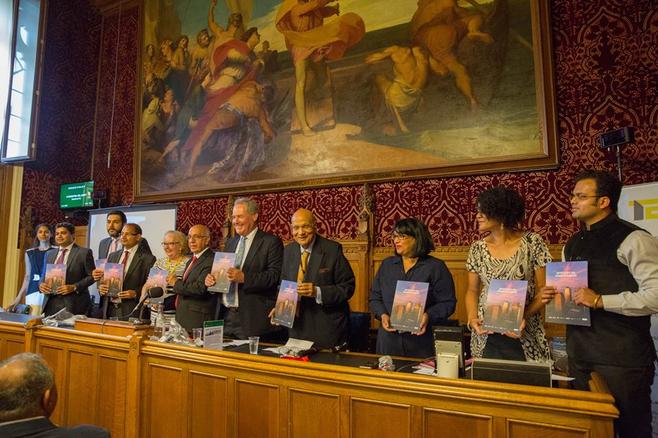 (From left) Vijay Goel, Marion Fellows MP, Virendra Sharma, Bob Blackman, Swraj Paul, Baron Paul,Sandip Verma, Baroness Verma, Chi Onwurah andSujit S Nair launching a panel discussion of the summit at UK Parliament.