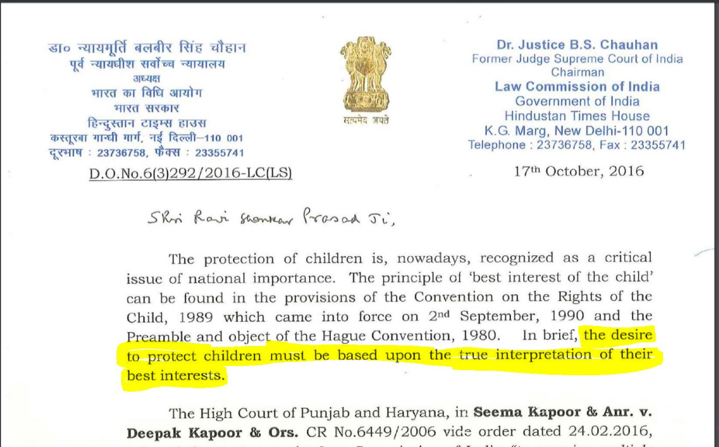 Law Commission has held that