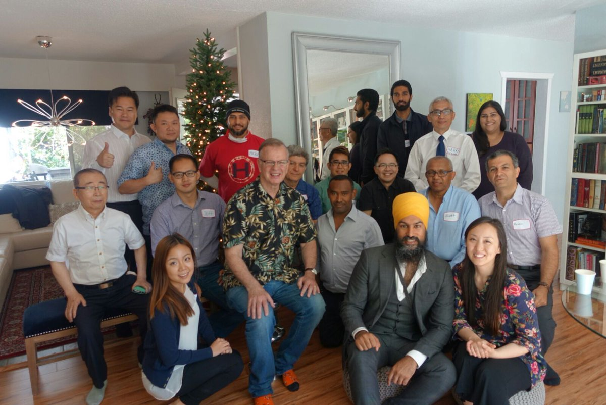 Jagmeet Singh (front row, 2nd right) with British Columbia organisers of the NDP.