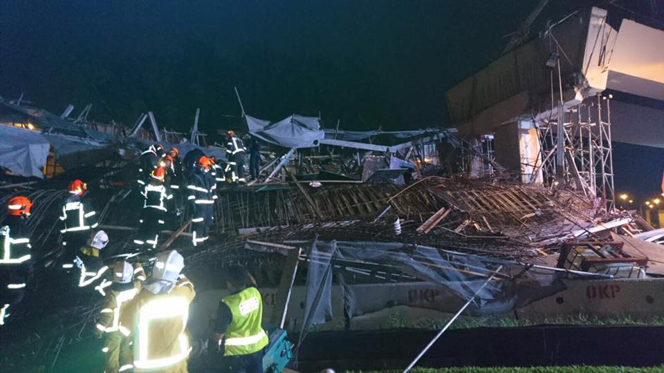 SCDF rescue mission when a structure at Upper Changi Road collapsed last month. Photo courtesy: SCDF Facebook