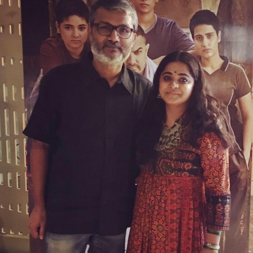 Ashwiny with her husband and director of 'Dangal' - Nitesh Tiwari.