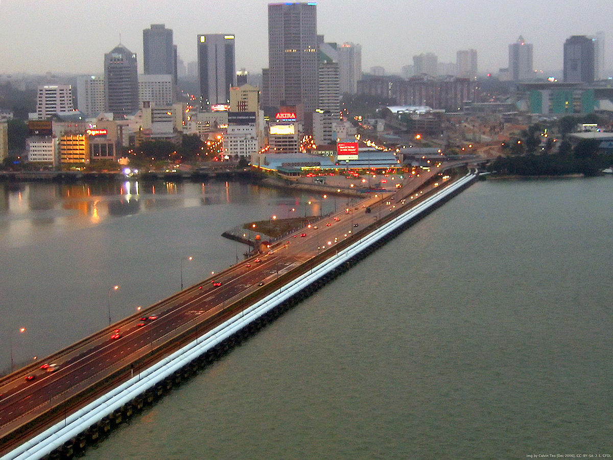 A view of the Johor Baru causeway connecting Singapore and Malaysia.