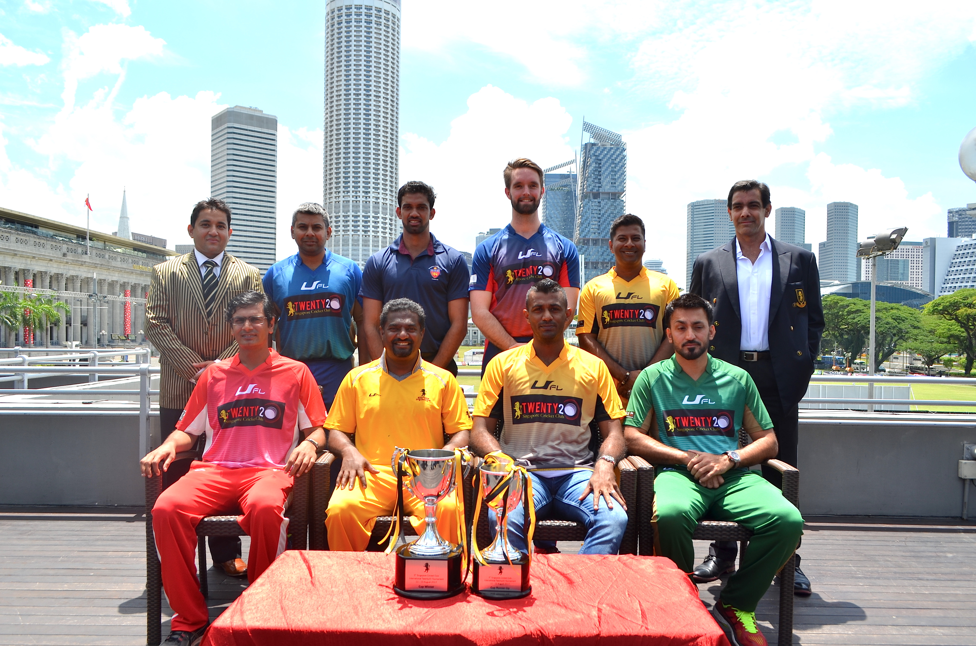 From left: (1st row) SES captain Dharmichand Mulewa, Muttiah Muralitharan, Ferveez Maharoof and SCG captain Kamil Khan. (2nd row) SCC T20 tournament chairman Push Sharma, Madras captain Jaikumar Hariesh, SSC captain Sachithra Senanayaka, Melbourne captain Matthew Brown, SCC captain Riaz Hussein and SCC chairman Sher Baljit Singh.
