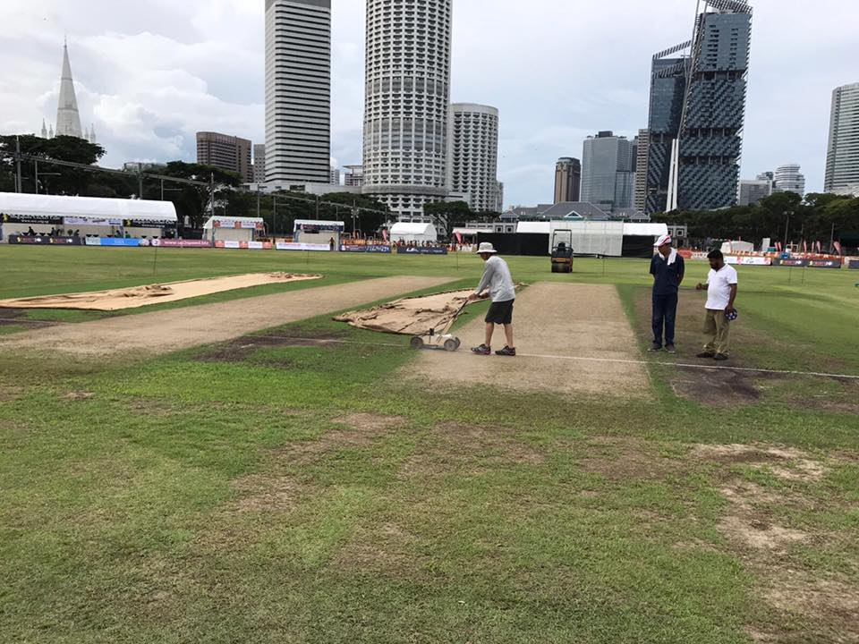 SCC Groundsman Rashid and team in action at the centre wicket. The stands are also getting set up for the exciting weekend of cricket extravaganza.