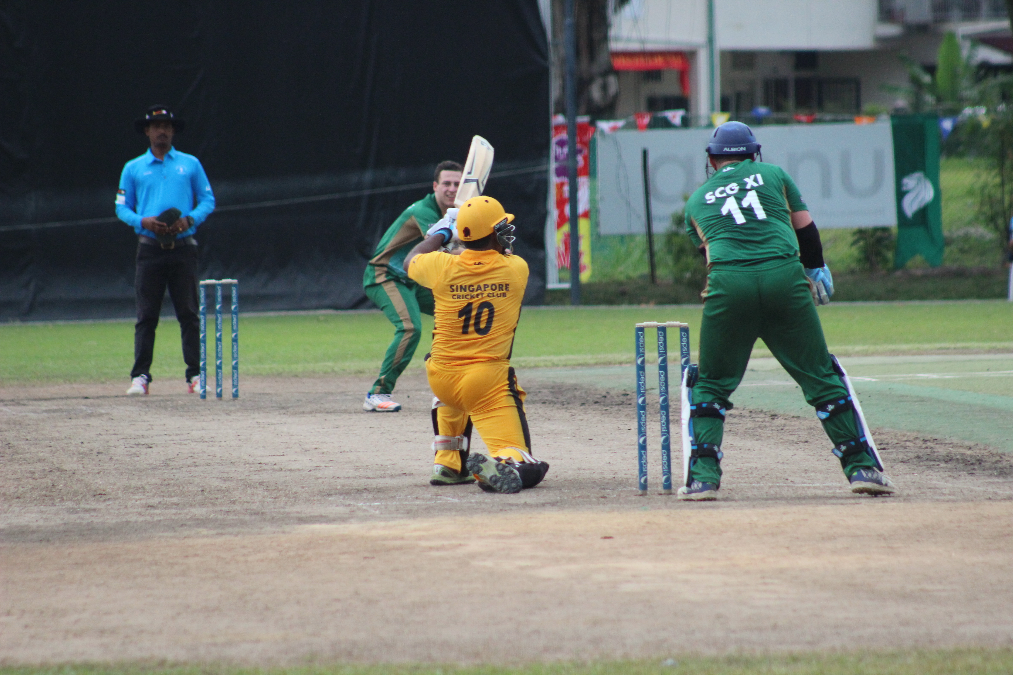 SCC and SCG players in action at the Indian Association Ground.