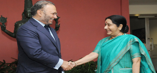 Indian External Affairs Minister Sushma Swaraj (right) meets Dr Anwar Mohammed Gargash, Minister of State for Foreign Affairs of UAE, in New Delhi