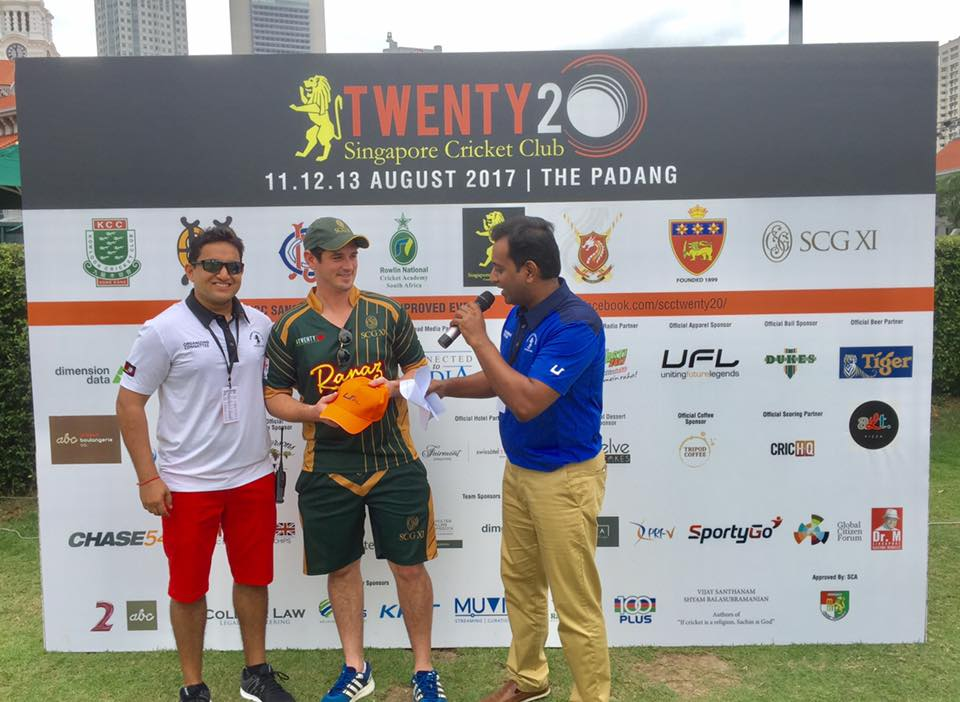 SCG XI's James Crosthwaite (centre) being presented the top run scorer's award by SCC T20 Chairman Push Sharma (left) and commentator Raman Bhanot.