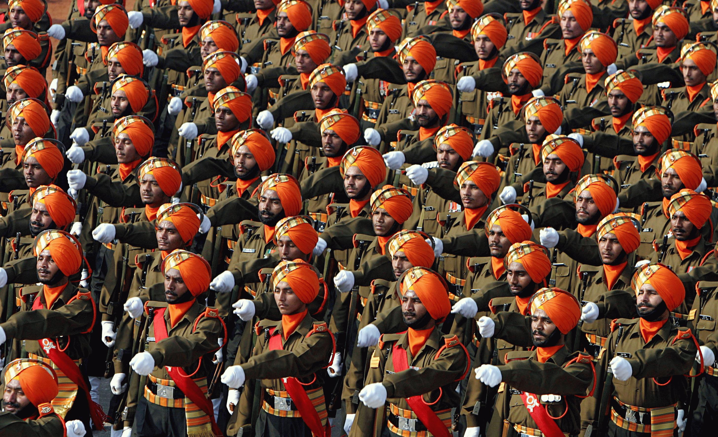 Indian soldiers of the Sikh Light Infantry during a Republic Day Parade.