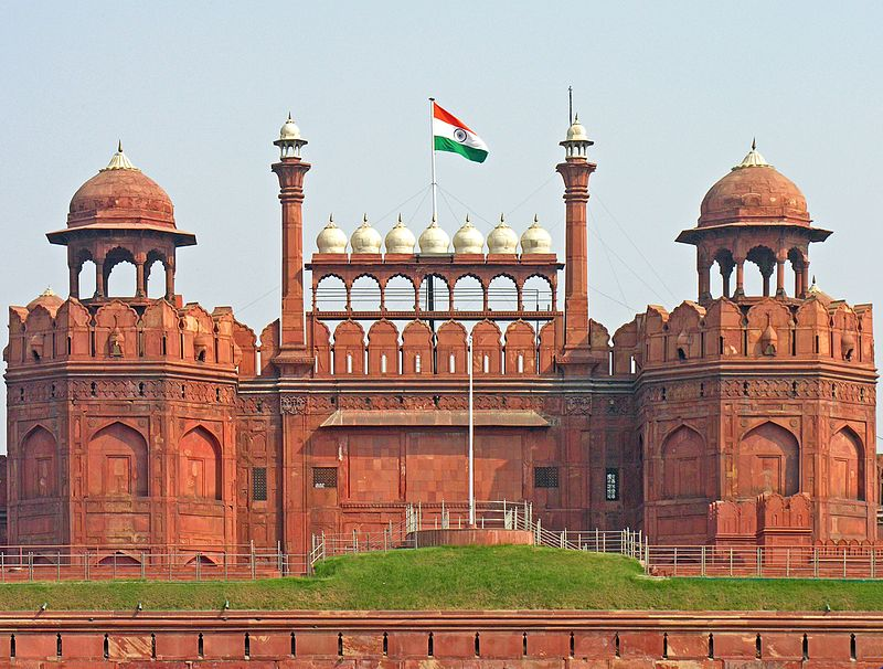 The national flag of India hoisted on the Red Fort in Delhi