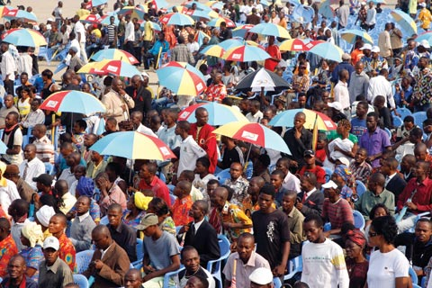 Part of a large crowd in Kinshasa, Democratic Republic of the Congo