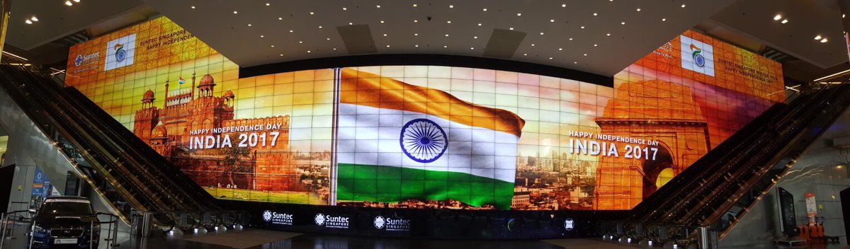 India's flag on the world's largest HD video screen (556 Sqmt) at Suntec Convention Centre.