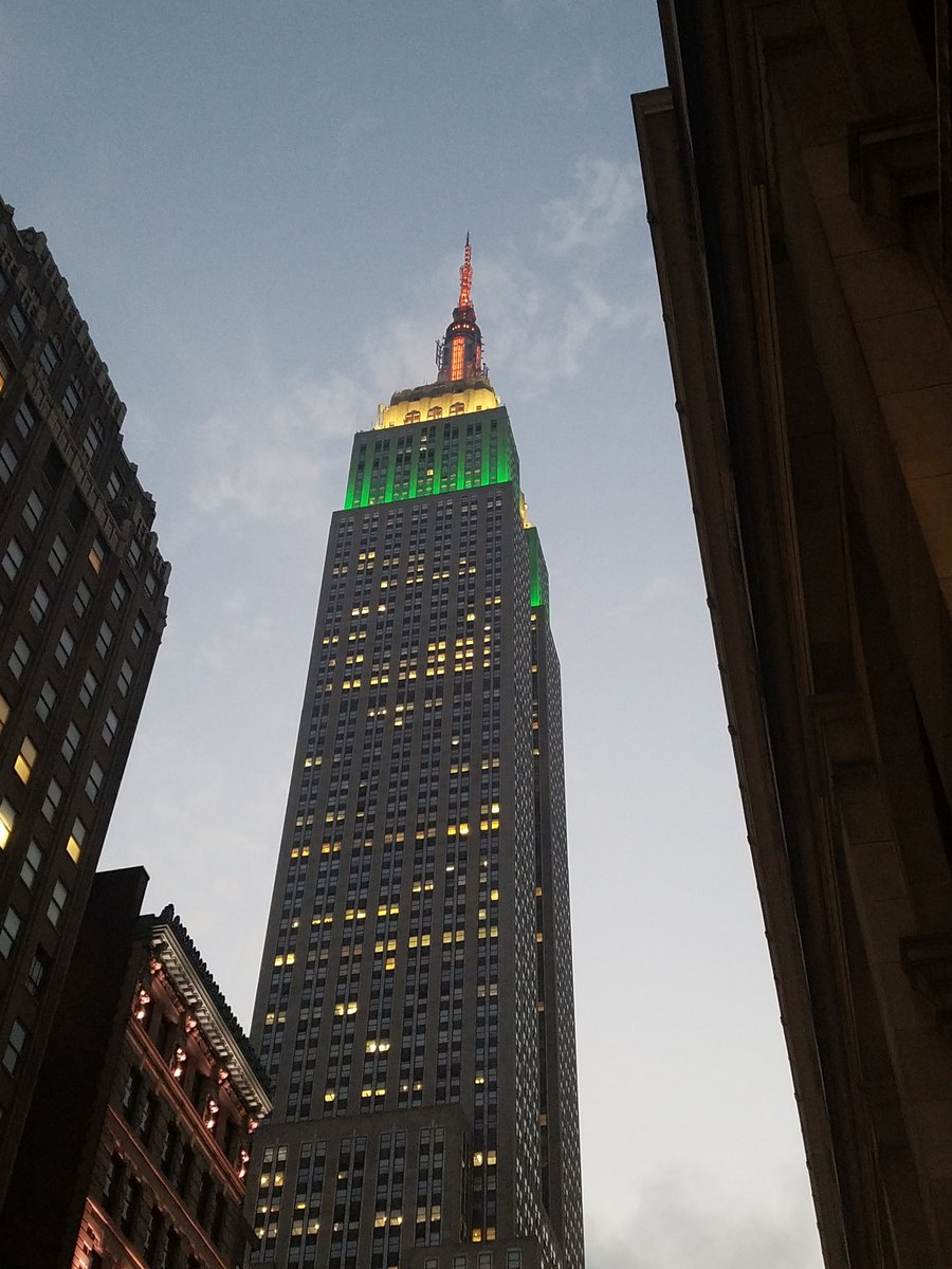 Empire State Building lit up in the national colours to commemorate 71st Independence Day.