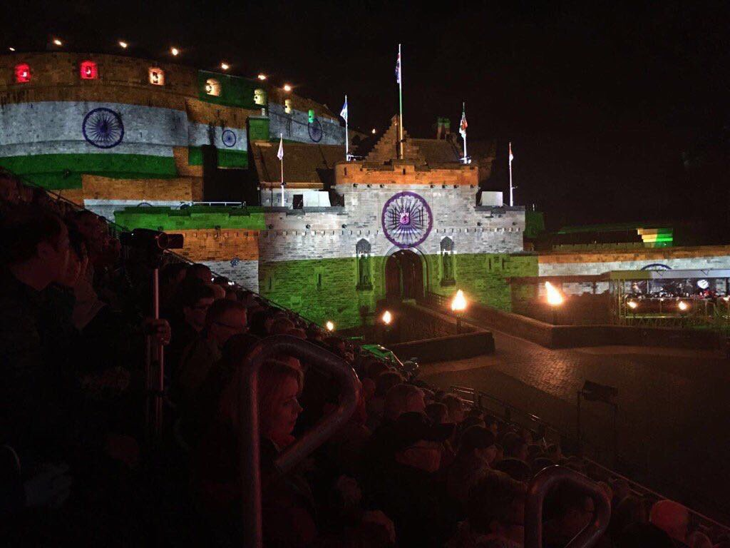 Edinburgh Castle decked up in Indian tricolour.
