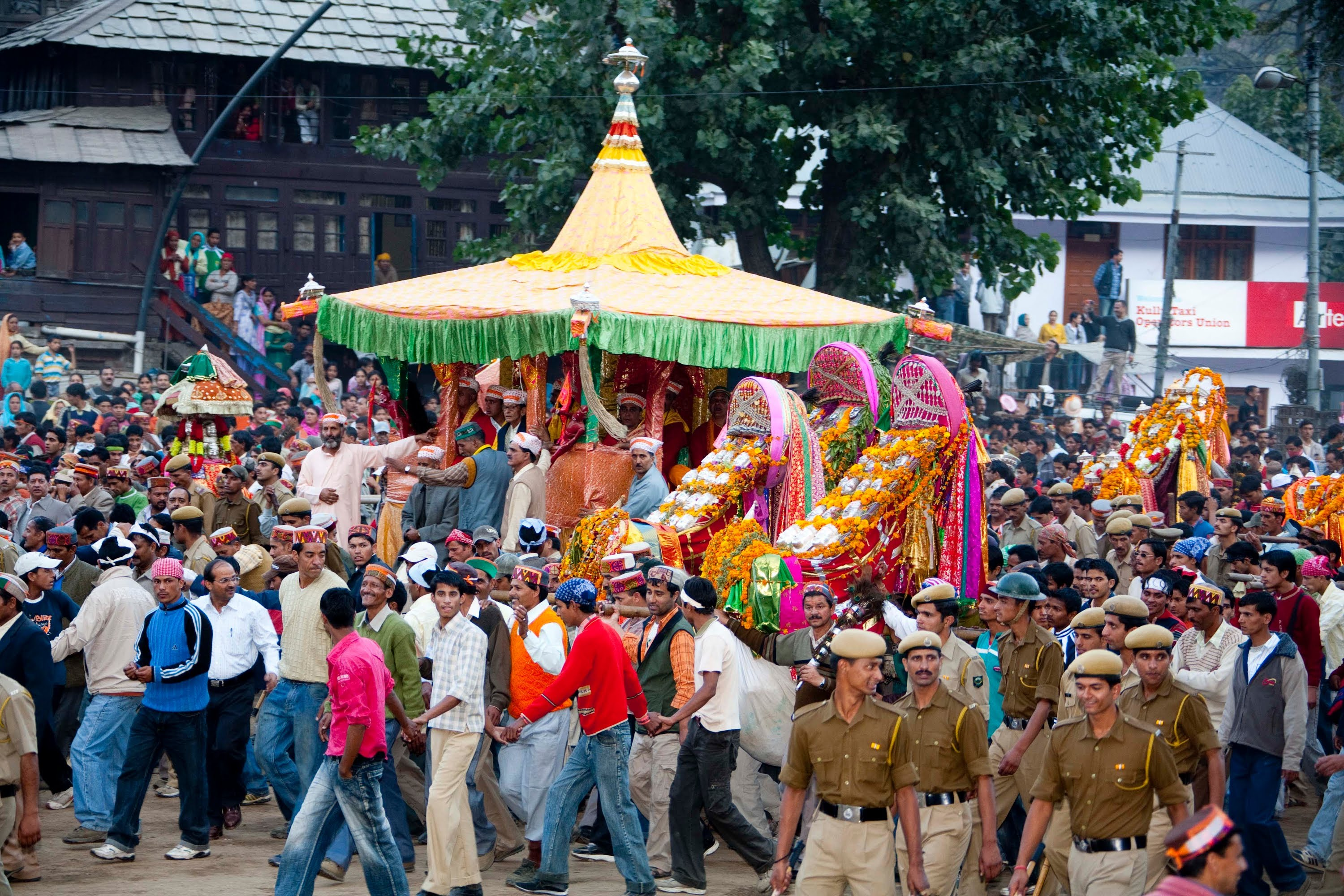 Procession being taken out in Kullu during Dussehra.