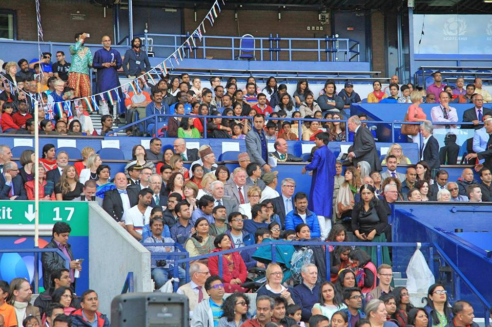 A crowd gathered at the Murrayfield Stadium in Edinburgh for Indian's Independence Day celebrations.