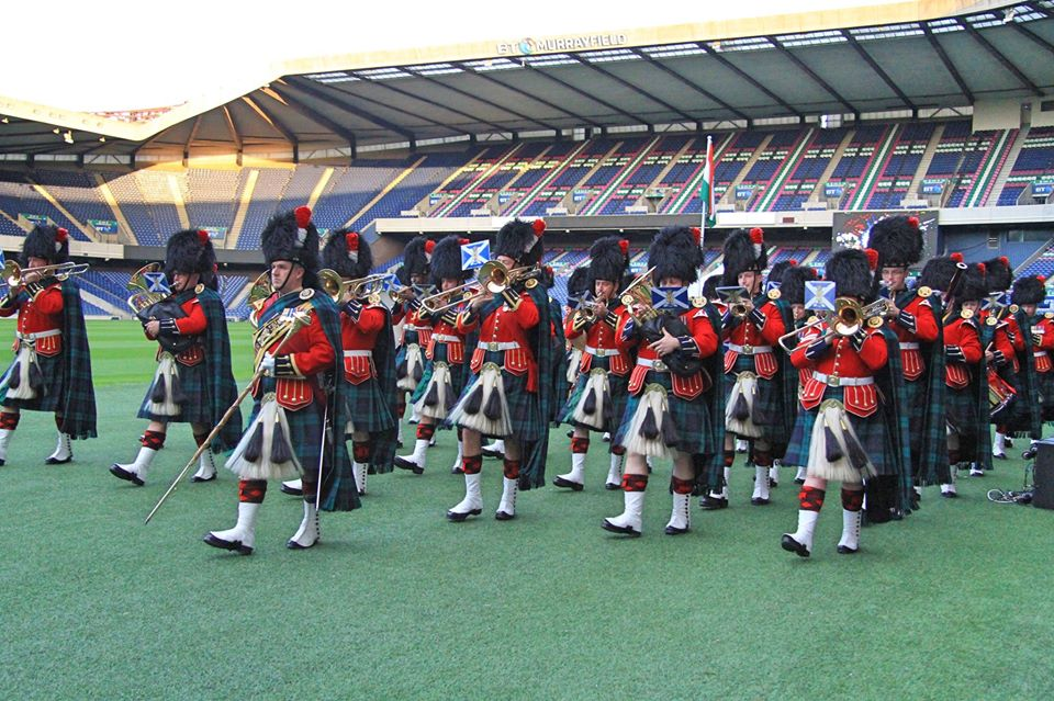 A Scottish marching band taking part in the Indian Independence Day celebrations at Murrayfield Stadium.