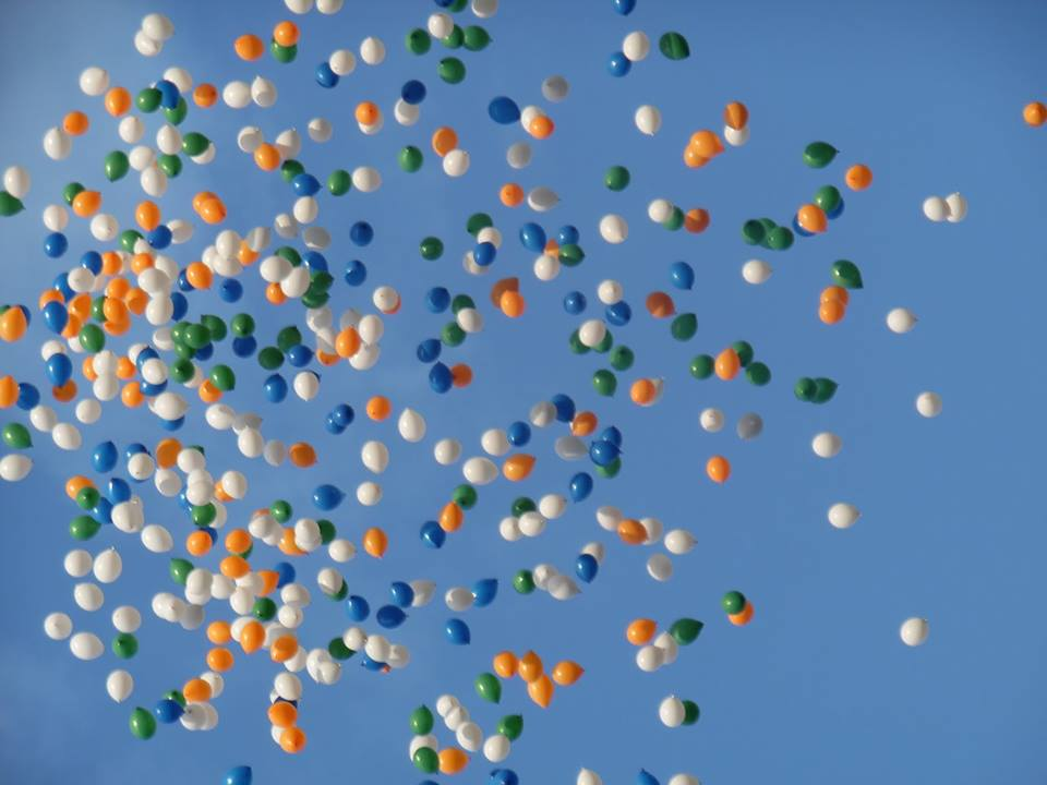 Balloons in the colours of the Indian flag released over Edinburgh to mark Indian Independence Day.