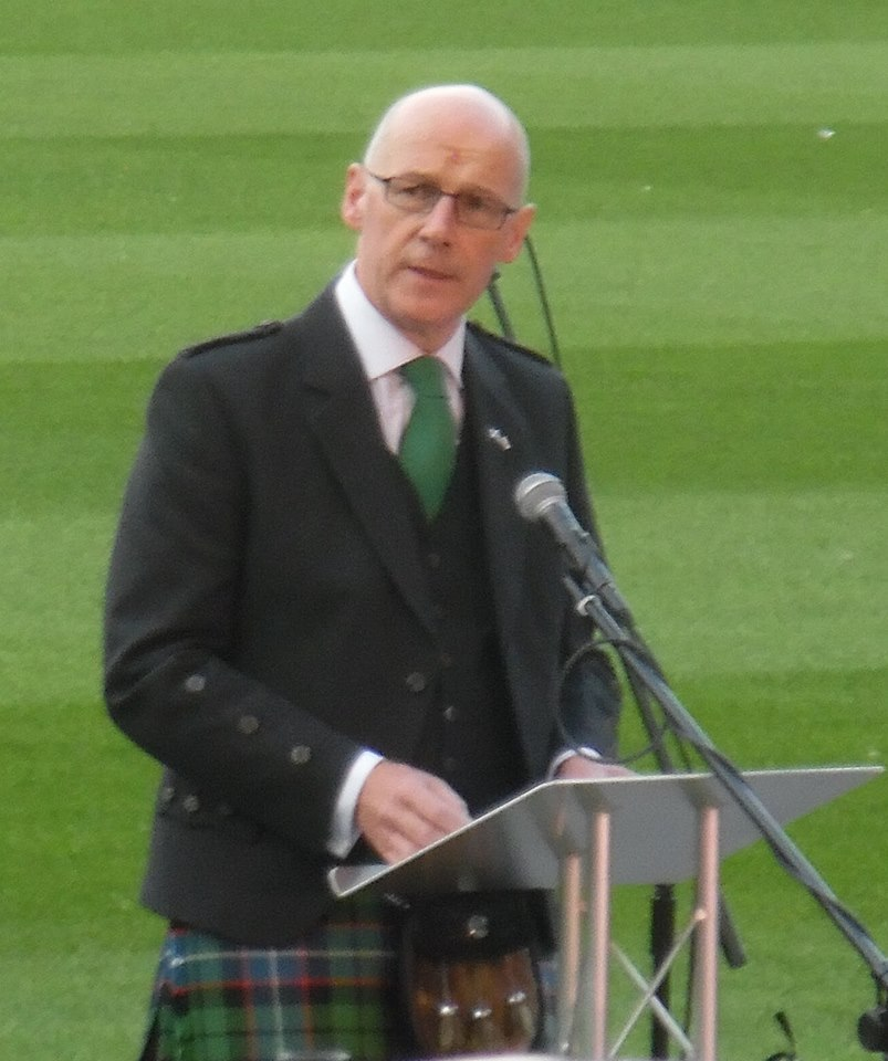 Deputy First Minister of Scotland John Swinney gives a speech during the Independence Day function.