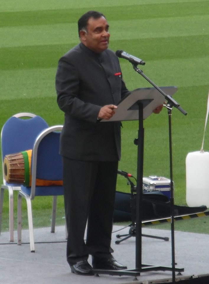 High Commissioner of India, UK YK Sinha speaking at the Murrayfield Stadium in Edinburgh