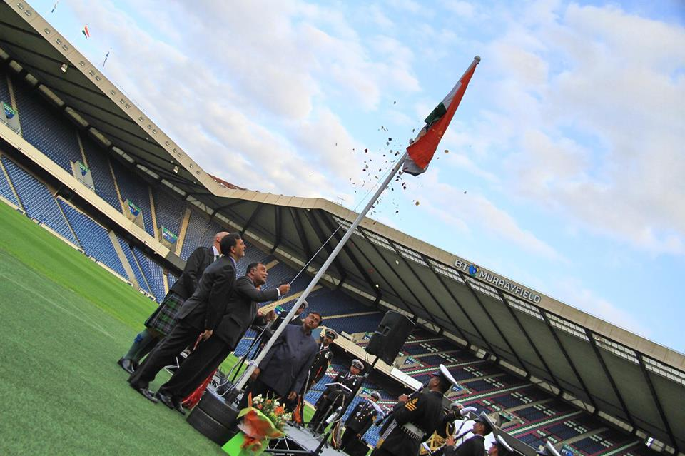 High Commissioner of India, UK YK Sinha unfurls the Indian tricolour at the Murrayfield Stadium in Edinburgh to mark Indian Independence Day. Photos courtesy: Indian high Commission, UK