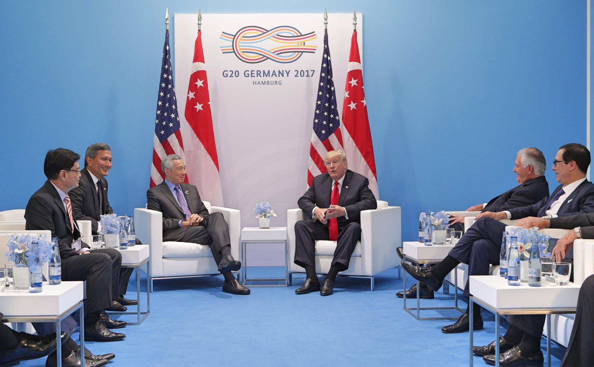 PM Lee Hsien Loong meets President Donald Trump at G20 in Hamburg earlier this year. Photo courtesy: MCI Kenji Soon