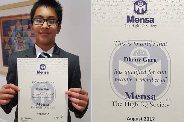 Dhruv Garg with his Mensa admission certificate.