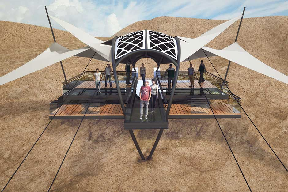 Artist impression of world's longest and highest zip-line to be constructedin UAE.