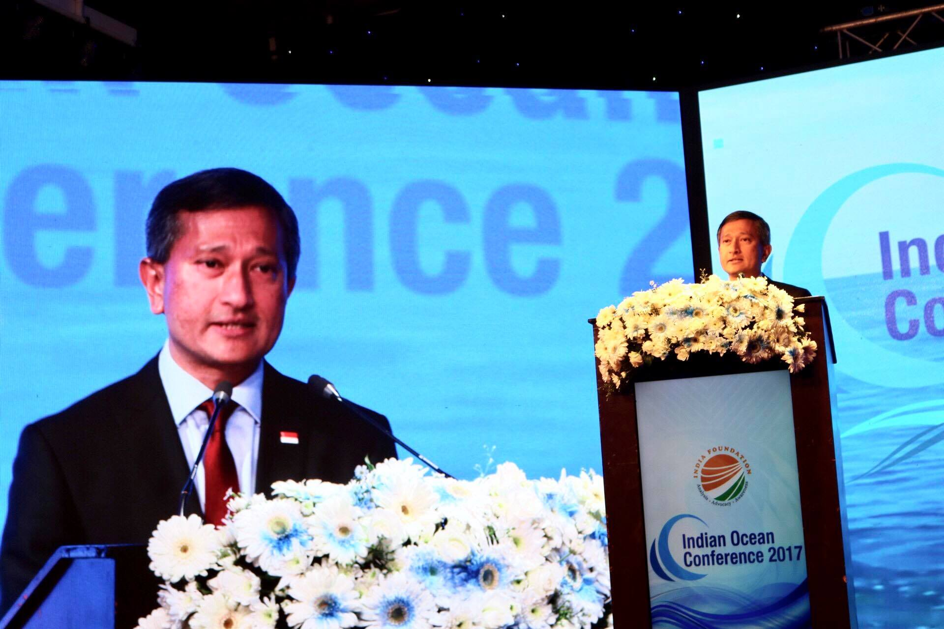 Singapore Minister for Foreign Affairs Dr Vivian Balakrishnan addressing inaugural session of Indian Ocean Conference in Colombo