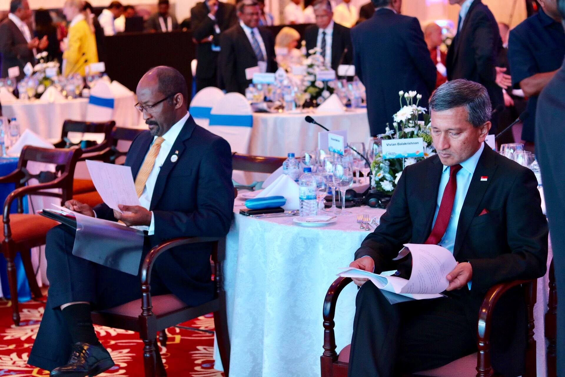 Preparing our speech, with Seychelles Vice President Vincent Meriton