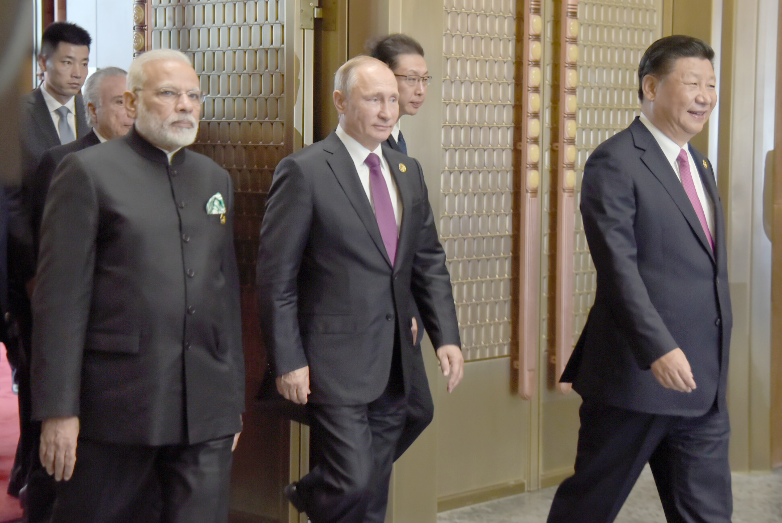 Indian Prime Minister Narendra Modi (left) with Russian President Vladimir Putin (centre) and Chinese Premier Xi Jinping at the BRICS summit. Photos courtesy: Press Information Bureau, India