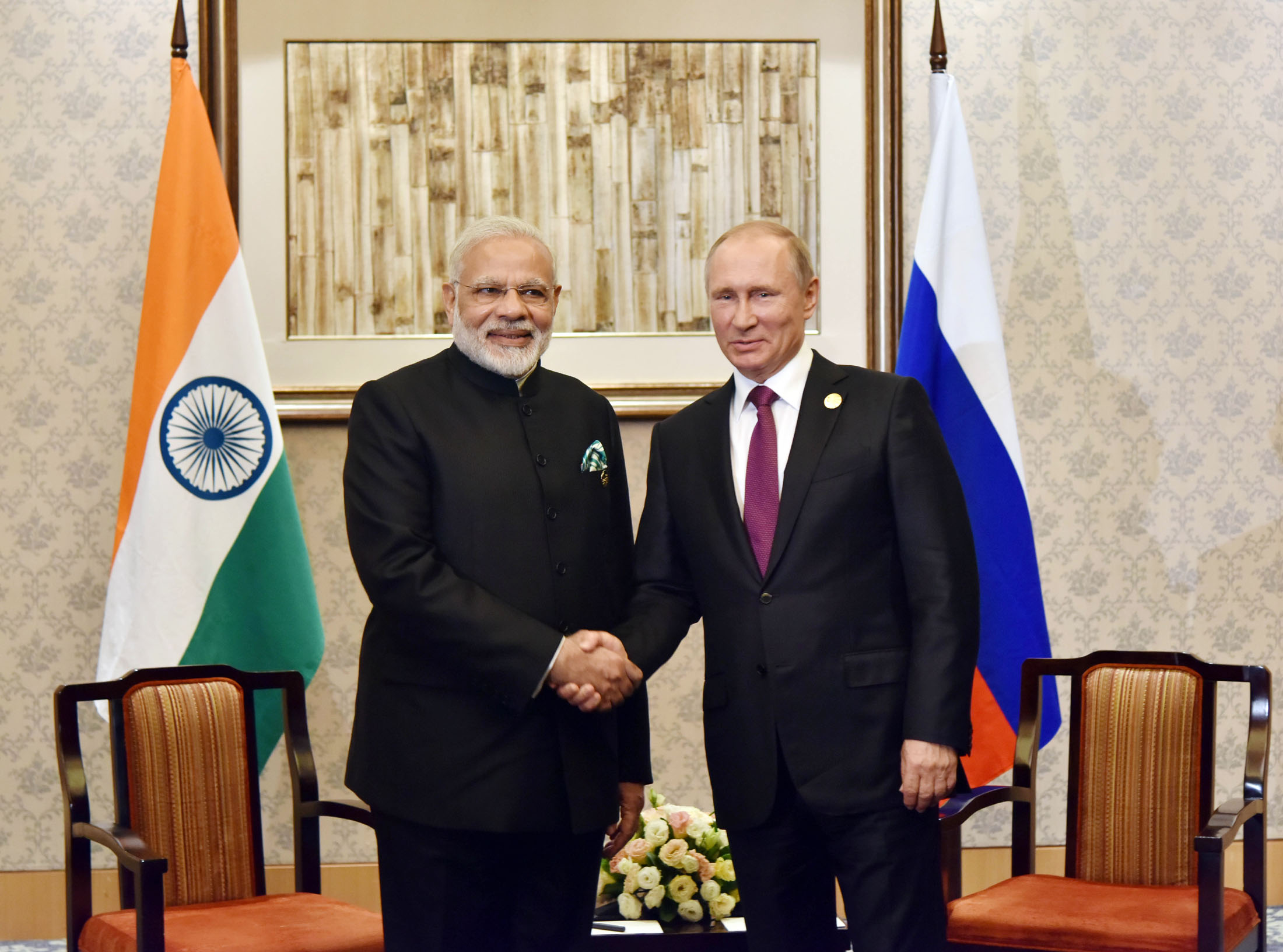 Prime Minister Narendra Modi meeting the President of Russian Federation Vladimir Putin on the sidelines of the 9th BRICS Summit, in Xiamen