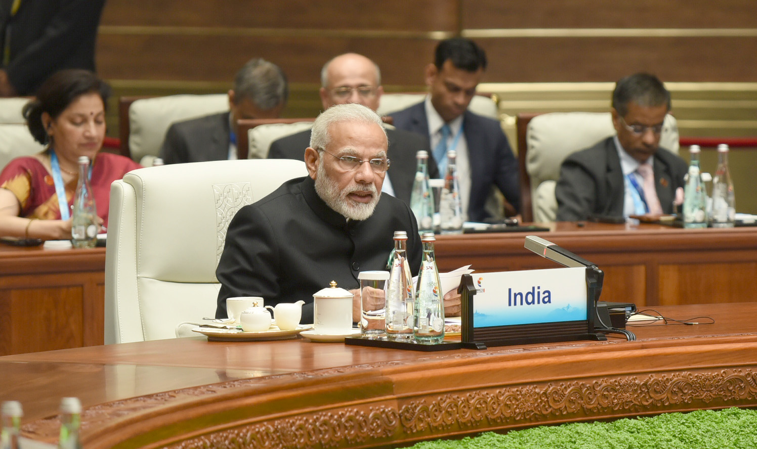 Prime Minister Narendra Modi delivering his statement, at the Plenary Session of the 9th BRICS Summit, in Xiamen, China