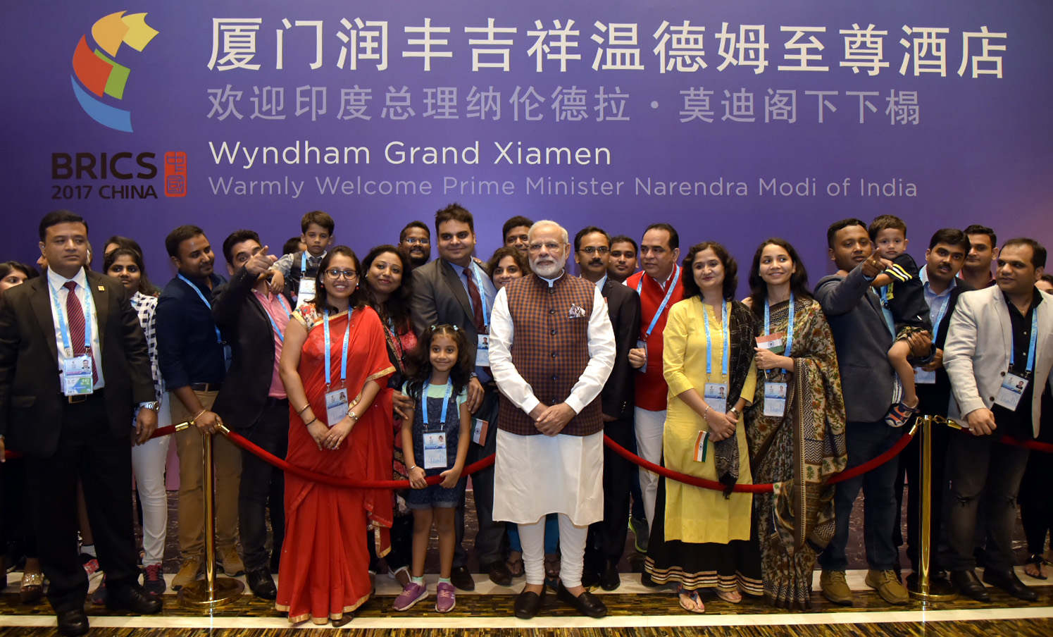 Indian Prime Minister Narendra Modi being welcomed by the Indian community in Xiamen on his arrival to attend the 9th BRICS Summit. Photos courtesy: Press Information bureau, India