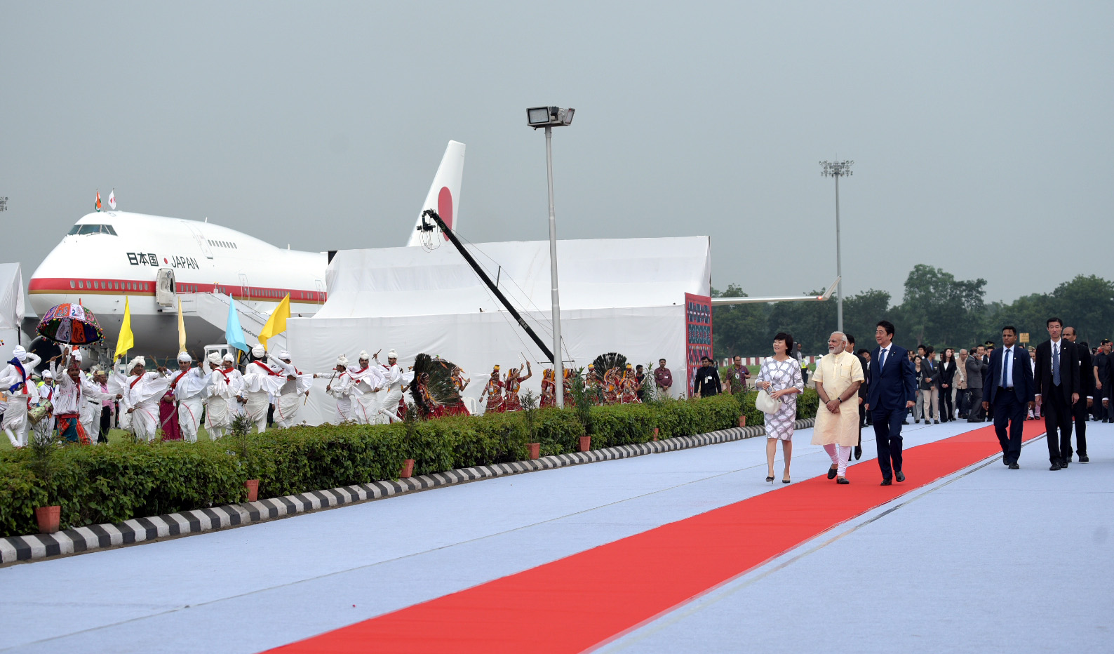 Prime Minister of Japan Shinzo Abe and  Mrs Akie Abe being accorded a red carpet welcome by the Prime Minister Narendra Modi, at Ahmedabad airport, Gujarat on September 13, 2017