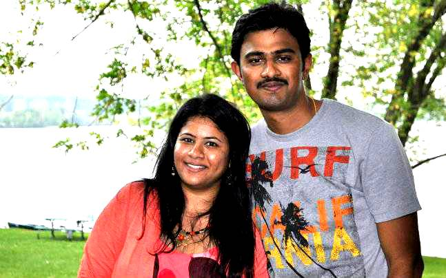 Sunayana Dumala (left) with husband Srinivas Kuchibhotla in happy times.