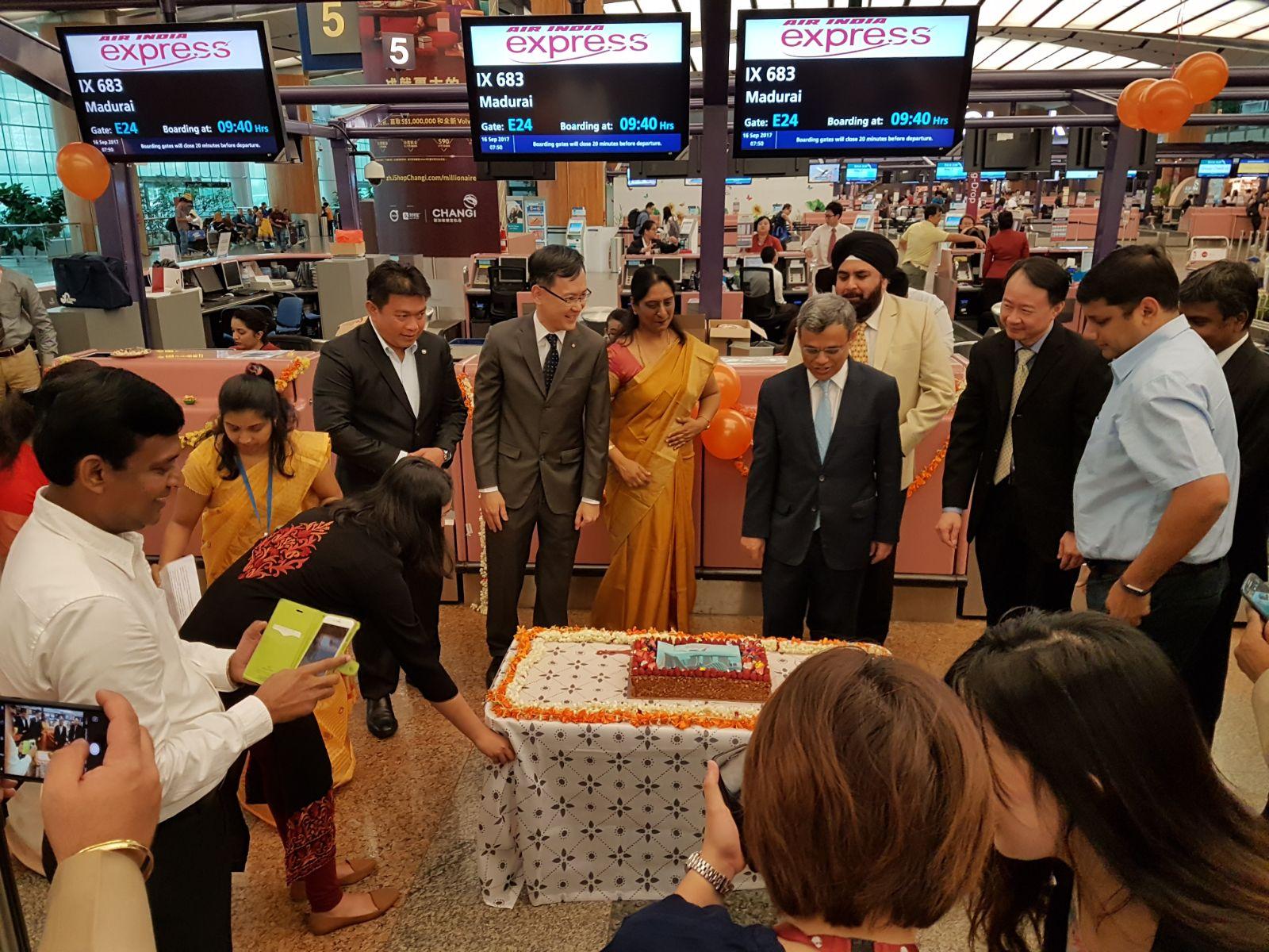 H.E. Jawed Ashraf, High Commissioner of India to Singapore  inaugurating Singapore-Madurai flight of Air India Express at Changi Airport Terminal 2.