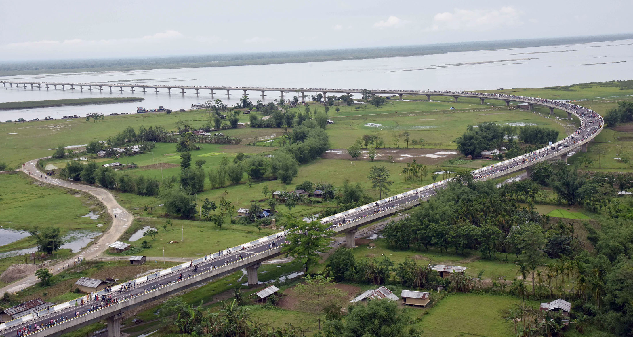 India is fast-tracking roads network projects in the Northeast. An aerial view of the Dhola-Sadiya bridge across River Brahmaputra, inaugurated by Prime Minister Narendra Modi, in Assam on May 26, 2017. The bridge cuts down military movement time to the border apart from its economic benefits for the region.