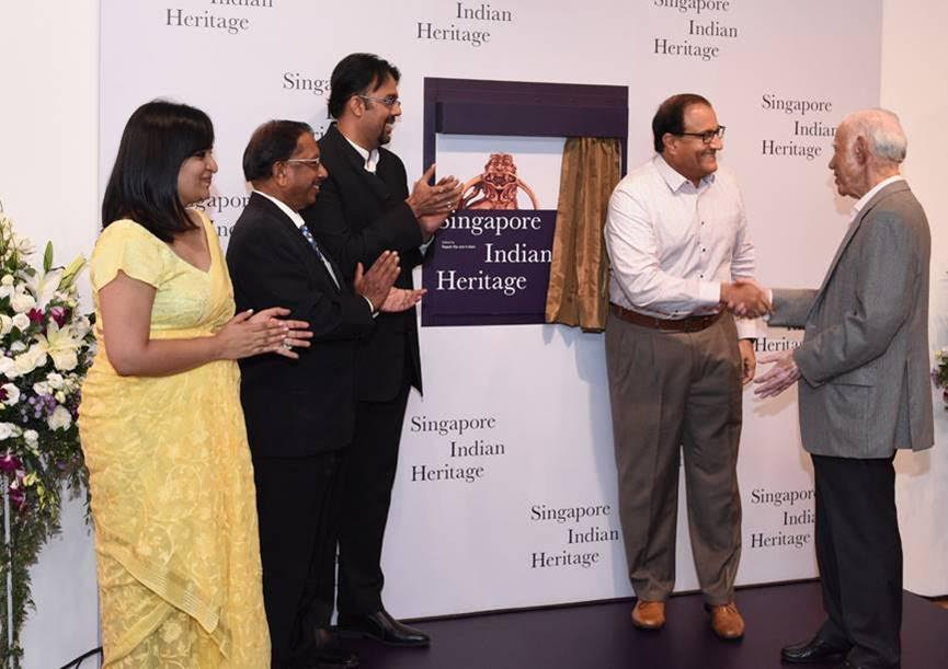 Minister for Trade and Industry (Industry) of Singapore S Iswaran (second from right) launching the book 'Singapore Indian Heritage' at Indian Heritage Centre. (From left) IHC curator Nalina Gopal, Professor A Mani, Associate Professor Rajesh Rai and Chairman IHC Advisory Board Ambassador Gopinath Pillai (extreme right) welcoming the Minister on the occasion.