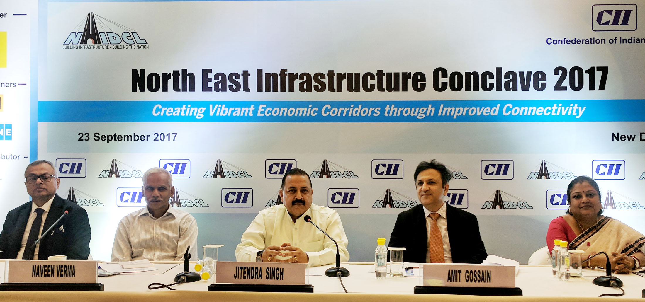 The Minister of State for Development of North Eastern Region, Prime Minister's Office, Personnel, Public Grievances & Pensions, Atomic Energy and Space, Dr. Jitendra Singh at the North East Infrastructure Conclave, in New Delhi.