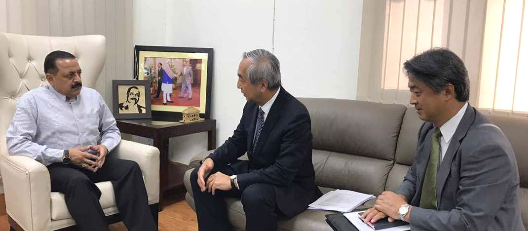 The Ambassador of Japan to India Kenji Hiramatsu calling on the Minister of State for Development of North Eastern Region, Prime Minister's Office, Personnel, Public Grievances & Pensions, Atomic Energy and Space Dr. Jitendra Singh, in New Delhi on May 17, 2017. Japan expressed its keenness to development road networks in India's North East.