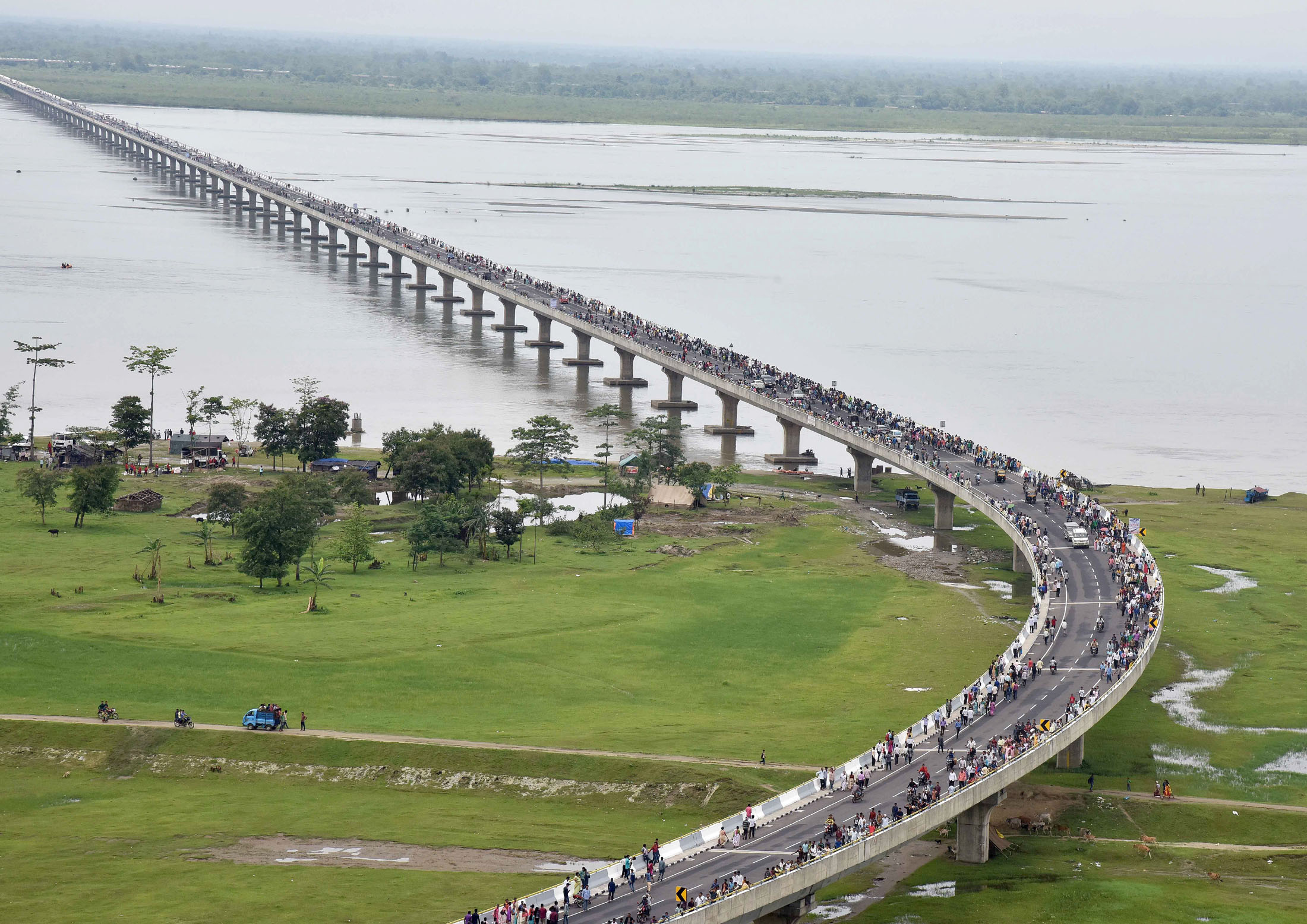India is fast-tracking roads network projects in the North East. An aerial view of the Dhola-Sadiya bridge across River Brahmaputra, inaugurated by the Prime MinisterNarendra Modi, in Assam on May 26, 2017.