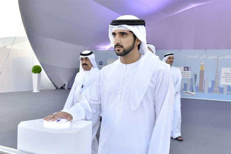 His Highness Shaikh Hamdan Bin Mohammed bin Rashid Al Maktoum, Crown Prince of Dubai pressing the operation button to launch the first AAT.