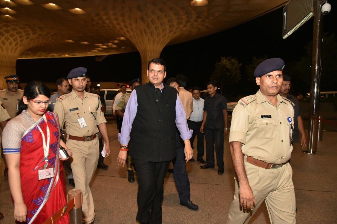 Maharashtra CM Devendra Fadnavis (centre) leaves for his trips to South Korea and Singapore.