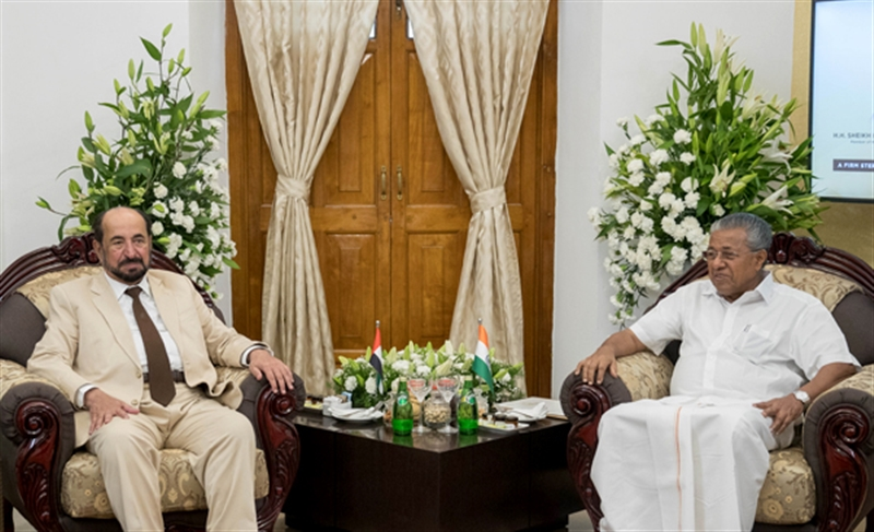 Sheikh Sultan bin Muhammad Al Qasimi, Ruler of Sharjah, meeting with Pinarayi Vijayan, Chief Minister of Kerala at Thiruvananthpuram.